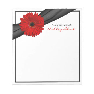 Red Gerber Daisy Ribbon Personalized Notepad