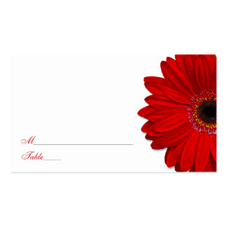 Red Gerber Daisy Wedding Place Cards Business Card
