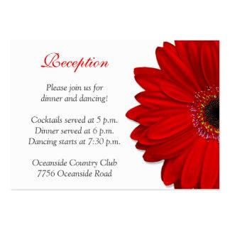 Red Gerber Daisy Wedding Reception Card Business Card