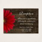 Red Gerber Daisy Wedding Reception Direction Card