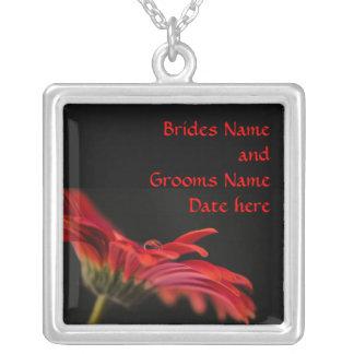 Red Gerbera Brides Wedding Pendant