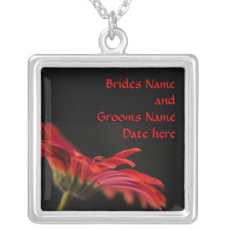 Red Gerbera Brides Wedding Silver Plated Necklace