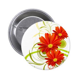 Red Gerbera Daisy 6 Cm Round Badge