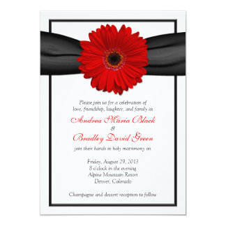 Red Gerbera Daisy Black Ribbon Wedding Invitation