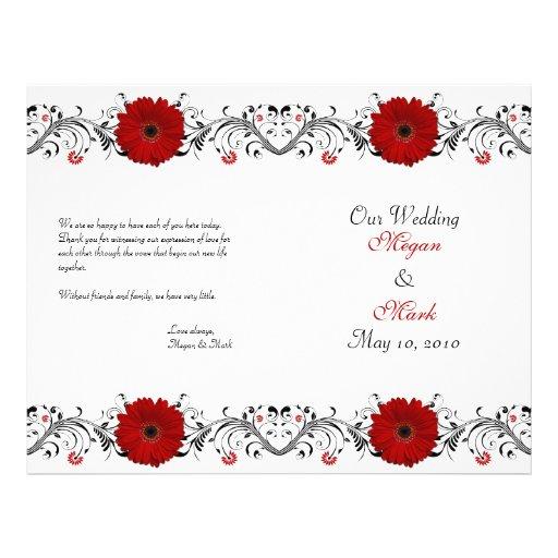 Red Gerbera Daisy Floral Wedding Program Flyer Design