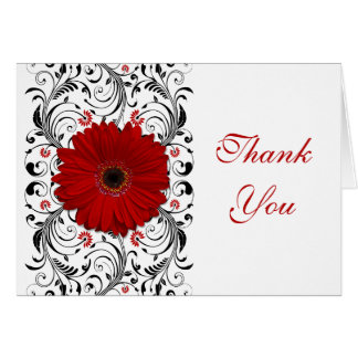 Red Gerbera Daisy Floral Wedding Thank You Card