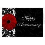 Red Gerbera Daisy Happy Anniversary Custom Card