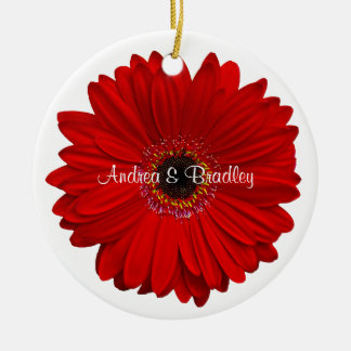 Red Gerbera Daisy Personalized Wedding Anniversary Christmas Ornament