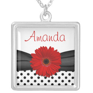 Red Gerbera Daisy Polka Dot Necklace