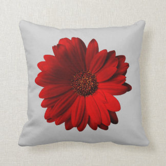 Red Gerbera Daisy throw pillow