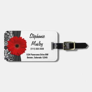 Red Gerbera Daisy Vintage Damask Floral Luggage Tag