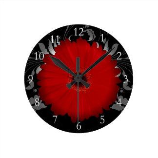 Red Gerbera Daisy w/Swirl Wall Clock