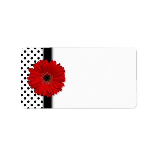 Red Gerbera Daisy Wedding Blank Address Labels