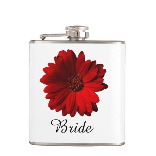 Red Gerbera Daisy Wedding Hip Flasks