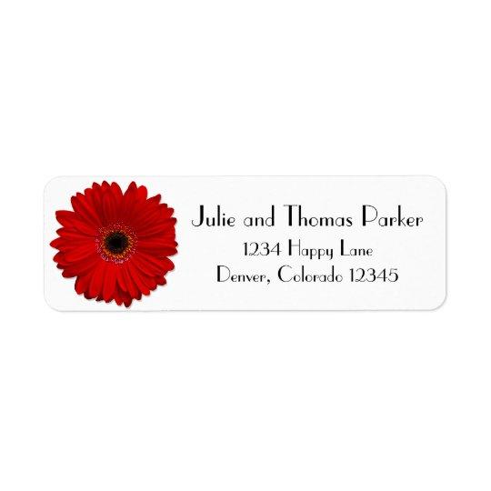 Red Gerbera Daisy Wedding Return Address Label