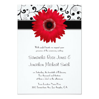 Red Gerbera Daisy with Black Scroll Design Wedding Card