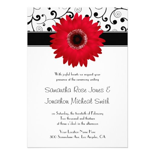 Red Gerbera Daisy with Black Scroll Design Wedding Personalized Announcements