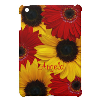 Red Gerbera Daisy Yellow Sunflower Personalized iPad Mini Cover