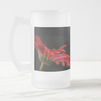 Red Gerbera Flower Brides Wedding Glass Frosted Glass Beer Mug