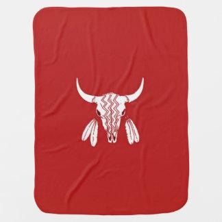 Red Ghost Dance Buffalo baby blanket (1 side)