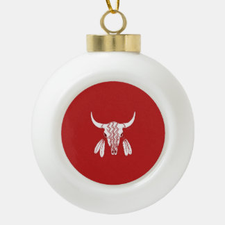 Red Ghost Dance Buffalo Christmas Ball Ceramic Ball Christmas Ornament
