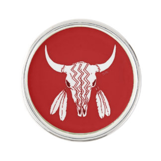 Red Ghost Dance Buffalo lapel pin silver plated