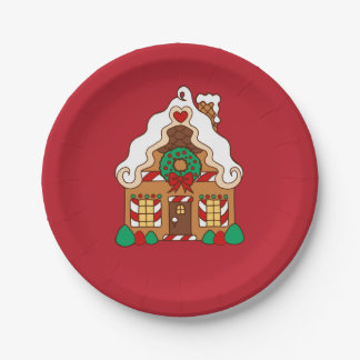 Red Gingerbread House Christmas Party Paper Plates