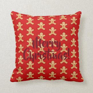 Red, Gingerbread Men. Cushion