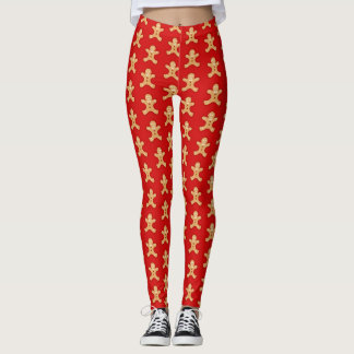 Red, Gingerbread Men. Leggings