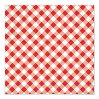 Red Gingham 13 Cm X 13 Cm Square Invitation Card