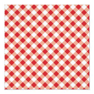 Red Gingham 13 Cm X 13 Cm Square Invitation Card
