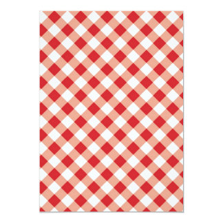Red Gingham 13 Cm X 18 Cm Invitation Card