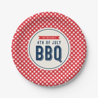 Red Gingham and Blue 4th of July BBQ 7 Inch Paper Plate