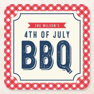 Red Gingham and Blue 4th of July BBQ Square Paper Coaster