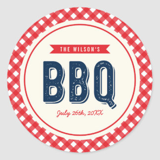 Red Gingham and Blue BBQ Party Round Sticker