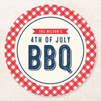 Red Gingham and Blue Fourth of July BBQ Round Paper Coaster