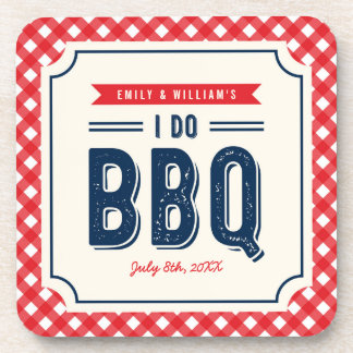 Red Gingham and Blue I Do BBQ Engagement Party Coaster