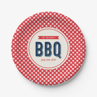 Red Gingham and Blue Summer BBQ Paper Plate