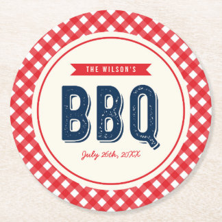 Red Gingham and Blue Summer BBQ Round Paper Coaster