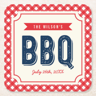 Red Gingham and Blue Summer BBQ Square Paper Coaster