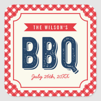 Red Gingham and Blue Summer BBQ Square Sticker