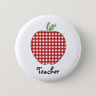 Red Gingham Apple Teacher Button