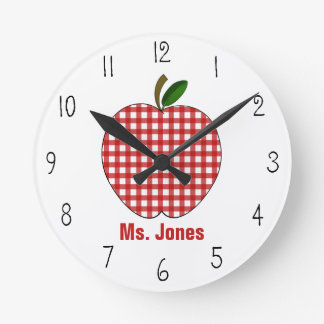 Red Gingham Apple Teacher Clock