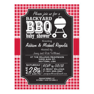 Red Gingham BBQ Baby Shower Invitation Post Card