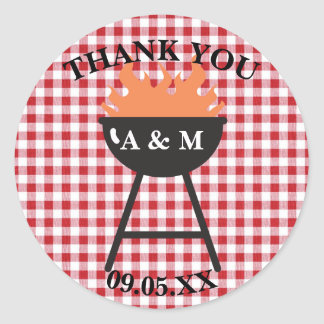 Red Gingham BBQ Favor Sticker
