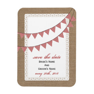 Red Gingham Bunting Burlap Inspired Save The Date Rectangular Photo Magnet
