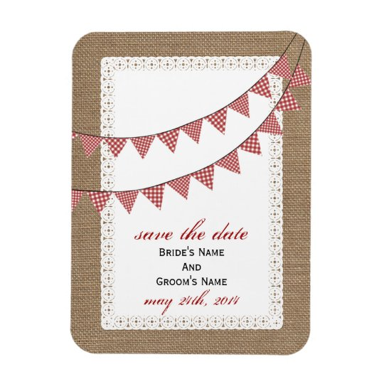Red Gingham Bunting Burlap Inspired Save The Date Magnet