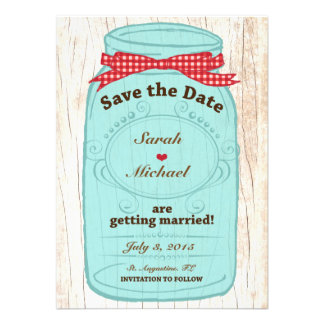 Red Gingham Burlap Mason Jar Save the Date Personalized Invitations