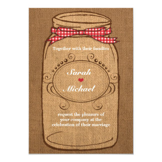 Red Gingham & Burlap Mason Jar Wedding Card