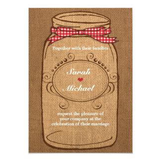 Red Gingham & Burlap Mason Jar Wedding Announcements